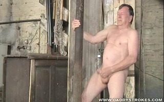 stocky dad jerking his wang