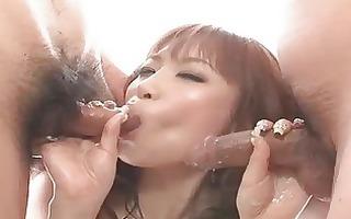 girl oriental plays with cum