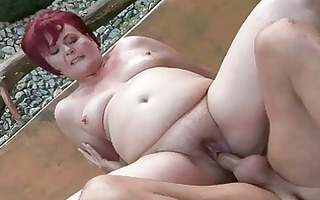 bulky grandma acquires her twat drilled outdoor