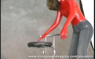hanka in red spandex stripping