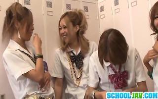 rena konishi and her schoolgirl allies share a
