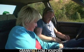 granny receives drilled in the car