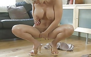 sensual blond momma with large bumpers in heels