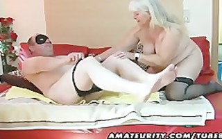 overweight non-professional wife sucks and