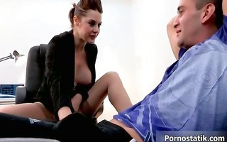 slutty d like to fuck office chick engulfing