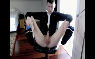 pierced pounder guy naked, wanking, shooting a