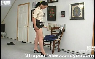 lady boss strapon fucking a boy