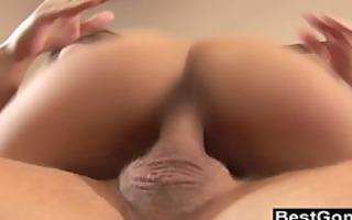 asian wench acquires drilled on a leather ottoman