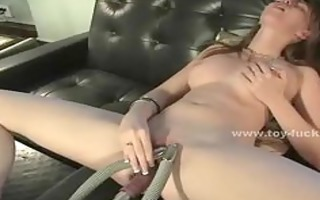 cute juvenile hottie opening her muff for toy