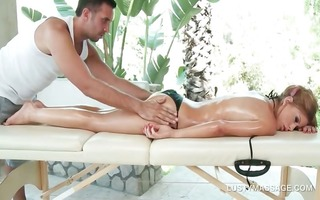 slutty blond asking her masseur for a snatch take