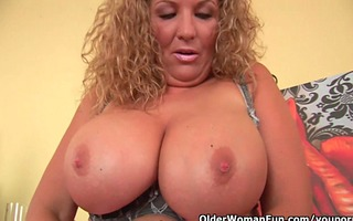 breasty soccer mom bonks a large sextoy