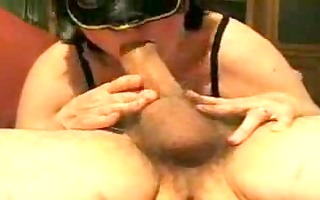 masked aged italian wife blows