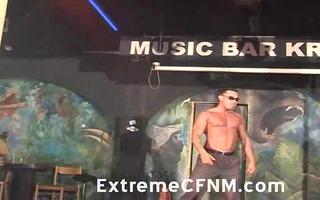 girlfriend sucking a strippers weenie on stage