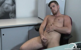 marko lebeau jerks his uncut cock during the time