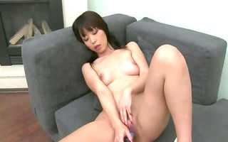 asian gal loves unfathomable permeate on daybed