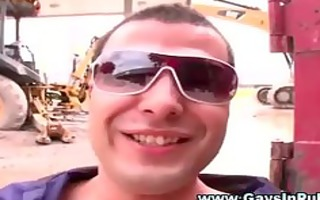 horny public homosexual receives a facial