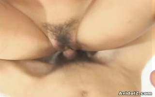 hairy snatch riho asakura nailed with creampie