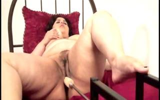 plump dark brown masturbating with machine