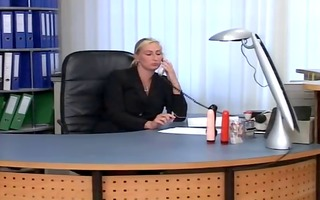 golden-haired older teaches oral job to her
