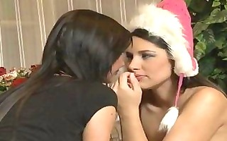 two lesbian cuties in hot underware making out in