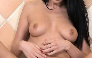 alluring vagina playing in kitchen