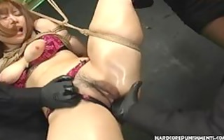 japanese sex bondman suspended in rope and