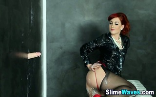 glam euro redhead in nylons