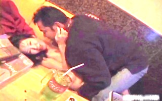 oriental bitch receives fingered in public place