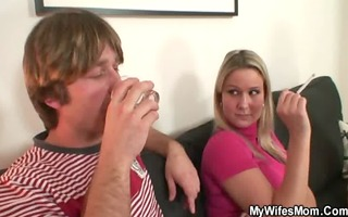wife watches as he is copulates her old mama