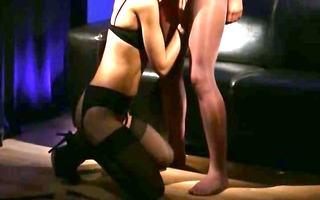 sexually excited brunet engulfing ramrod of rubber