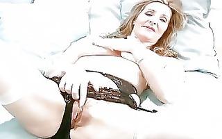 lewd aged in lingerie finger masturbation
