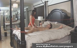 fastened up fellow receive tickled by breasty