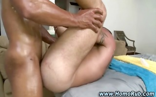 homosexual anal fucking after a very oily massage