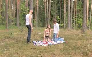 amateur german three-some in the forest