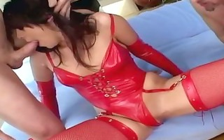 shayna knight deepthroating and dped in latex and