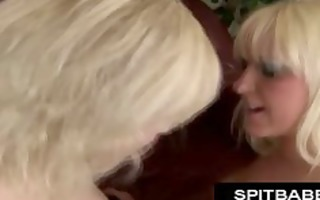 spitting and spitswapping golden-haired lesbos