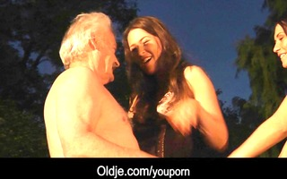 fortunate granddad bonks with sexy cuties