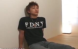 horny oriental guy shows off his bushy genitals