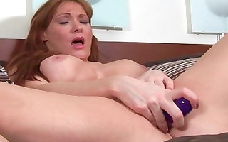 nasty golden-haired mother i wench toys her