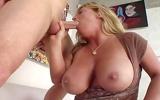 enormous chested tanned golden-haired momma sucks