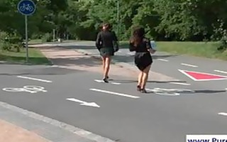 lesbian babes acquires immodest in the park