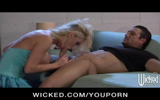 hot large tit blond sweetheart finishes off her