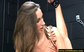 cfnm dominate their tied and gagged sub by tugging