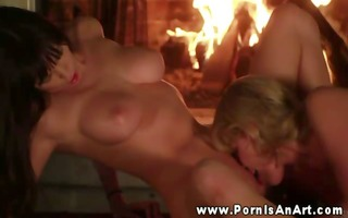 voluptuous lesbos making out by the fire place