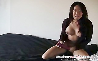 big tit oriental girlfriend screwing sex toy with