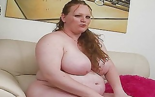 pale giant redhead momma uses her fresh sex toy