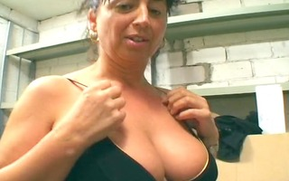 old broad receives perverted in the basement -