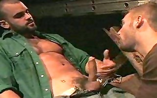 hot stable guy receives gay oral-job and fuck