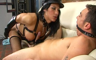 chap receives dominated by transsexual mistress -