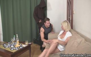 aged widow enjoys two fresh juvenile dicks